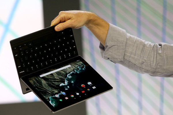 Andrew Bowers show off the new Android-based Pixel C tablet.