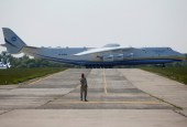 An Antonov An-225 Mriya, a cargo plane which is the world's biggest aircraft, is seen on an airfield before its first commercial flight to the Australian city of Perth, in the settlement of Hostomel outside Kiev