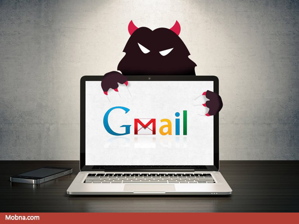 This illustration shows a laptop with the Gmail logo. An evil hacker is lurking behind the computer.
