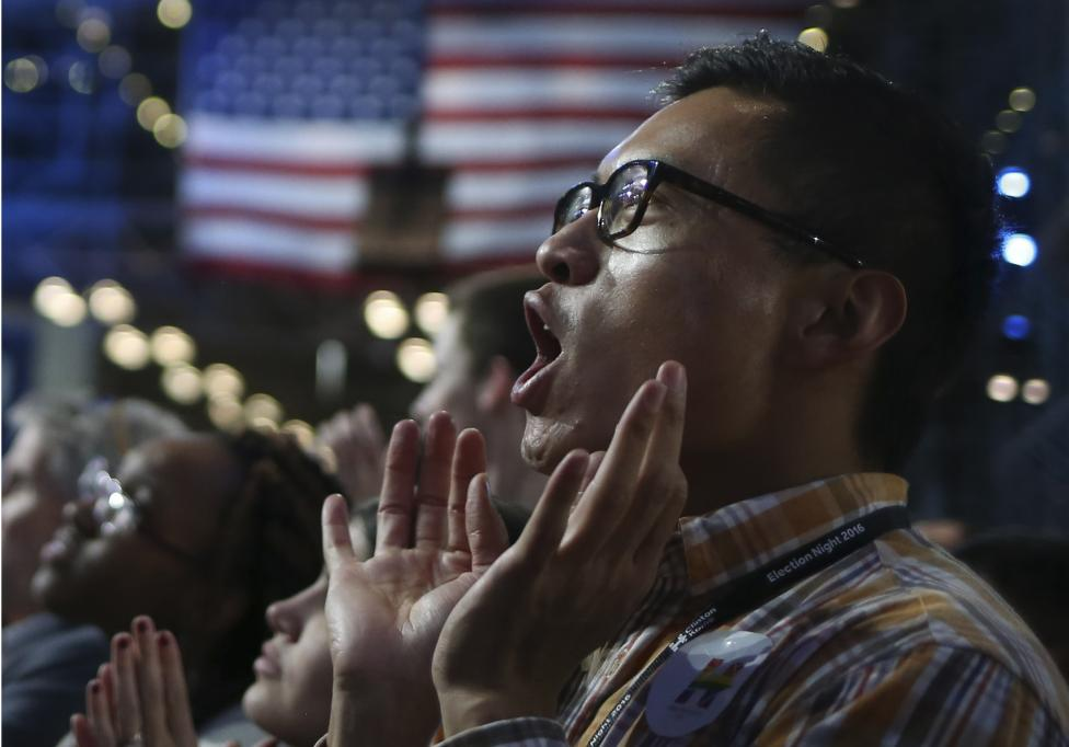 A man reacts to returns at Democratic U.S. presidential nominee Hillary Clinton's election night rally the Jacob K. Javits Convention Center in New York