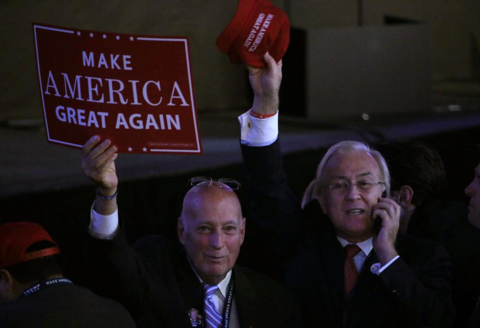 Supporters cheer as they wait at Republican U.S. presidential nominee Donald Trump's election night rally in New York