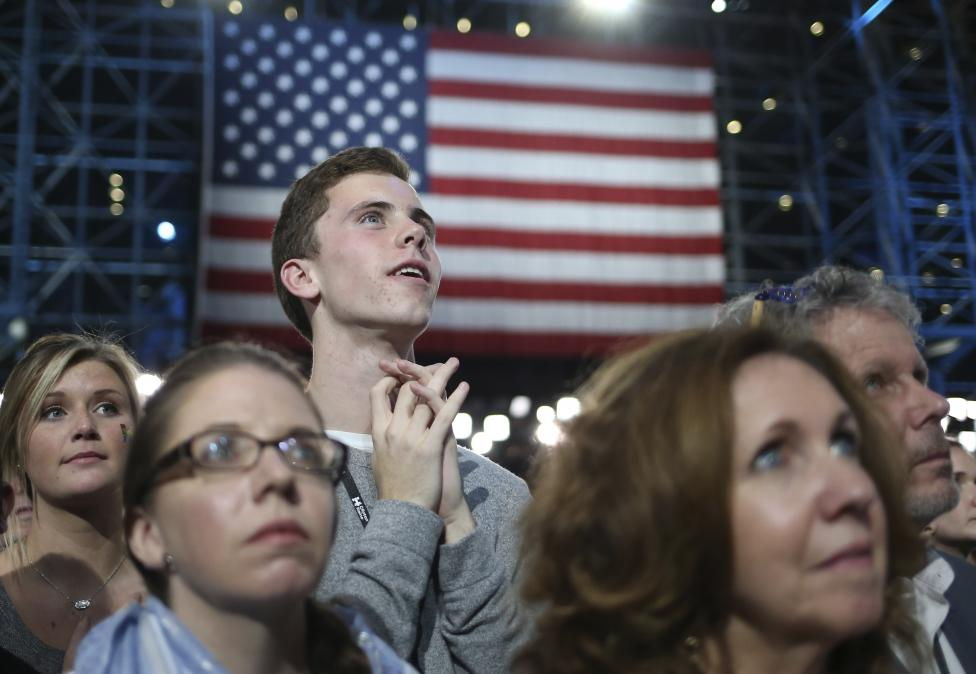 Supporters watch returns at Democratic U.S. presidential nominee Hillary Clinton's election night rally the Jacob K. Javits Convention Center in New York