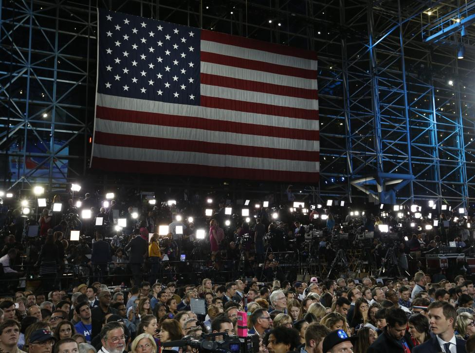 A U.S. flag is seen at the election night rally for U.S. Democratic presidential nominee Hillary Clinton at the Jacob K. Javits Convention Center in Manhattan