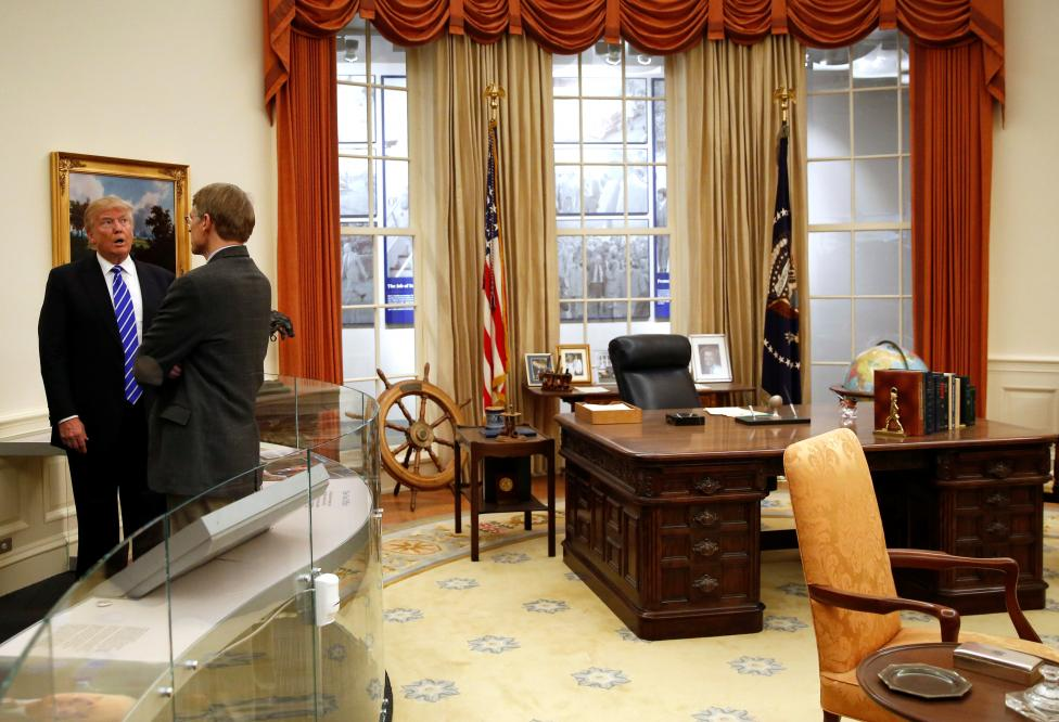Trump views a replica of the Oval Office on a tour of the Ford Presidential Museum in Grand Rapids, Michigan, U.S.