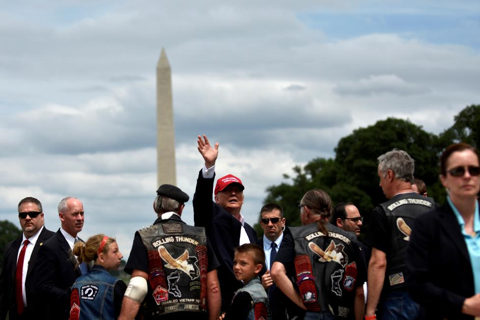 Republican U.S. presidential candidate Donald Trump addresses motorcyclists participating in Rolling Thunder in Washington