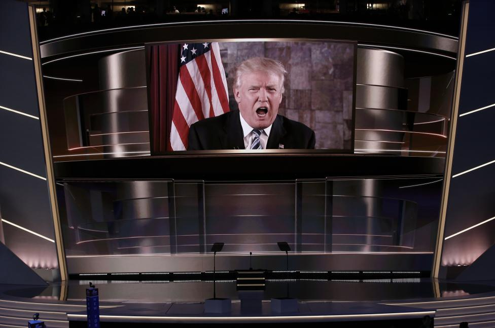 Republican presidential nominee Trump speaks live via satellite during the second session at the Republican National Convention in Cleveland