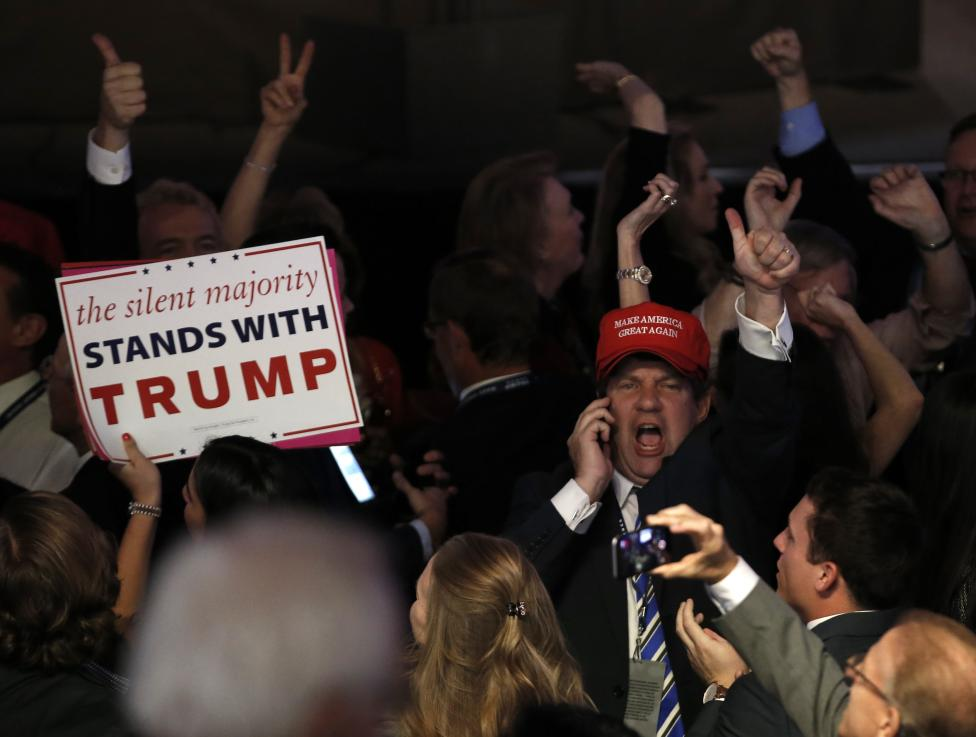 Trump supporters celebrate as they watch election returns come in at Republican U.S. presidential nominee Donald Trump's election night rally in New York