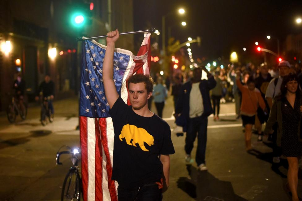 Protesters against president-elect Donald Trump march through Oakland