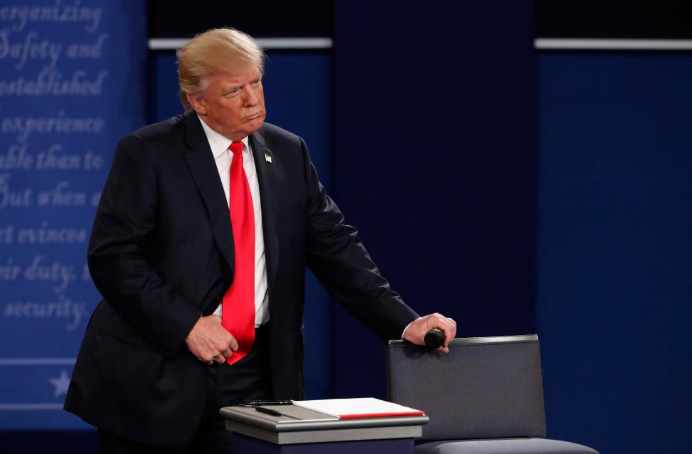 Republican U.S. presidential nominee Donald Trump is seen during his presidential town hall debate against Democratic U.S. presidential nominee Hillary Clinton (not shown) at Washington University in St. Louis