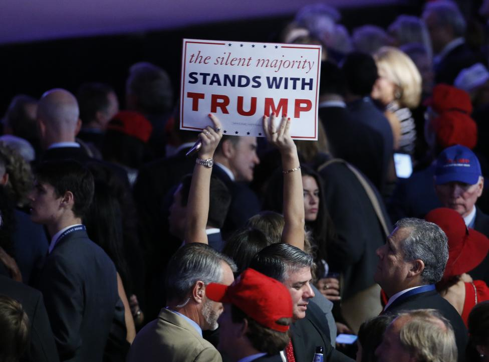 Trump supporters gather at Republican U.S. presidential nominee Donald Trump's election night rally in New York