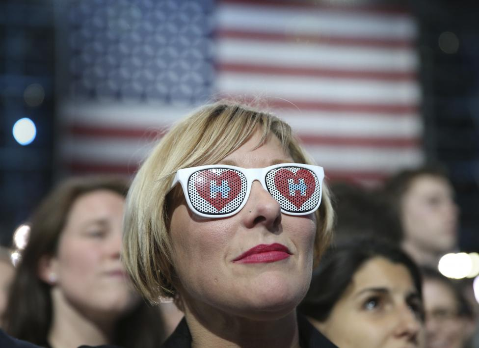 Jill Huennekens of Milwaukee attends Democratic U.S. presidential nominee Hillary Clinton's election night rally the Jacob K. Javits Convention Center in New York