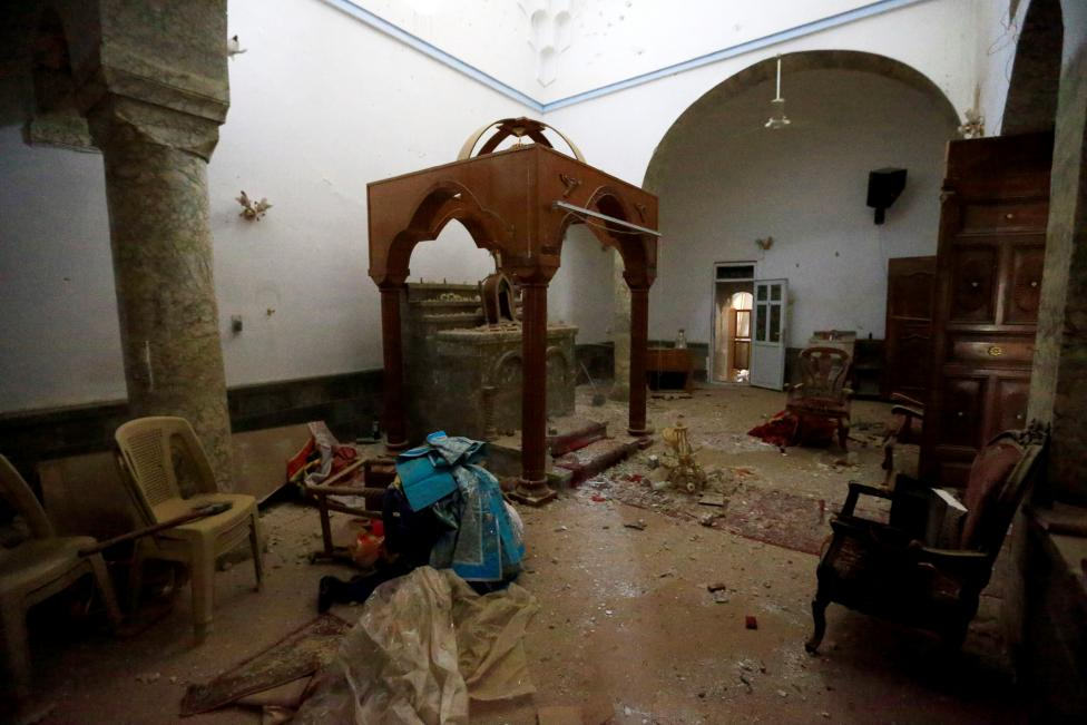 Damage is seen in the Mart Shmoni Church after it was recaptured from Islamic State in the town of Bashiqa, east of Mosul