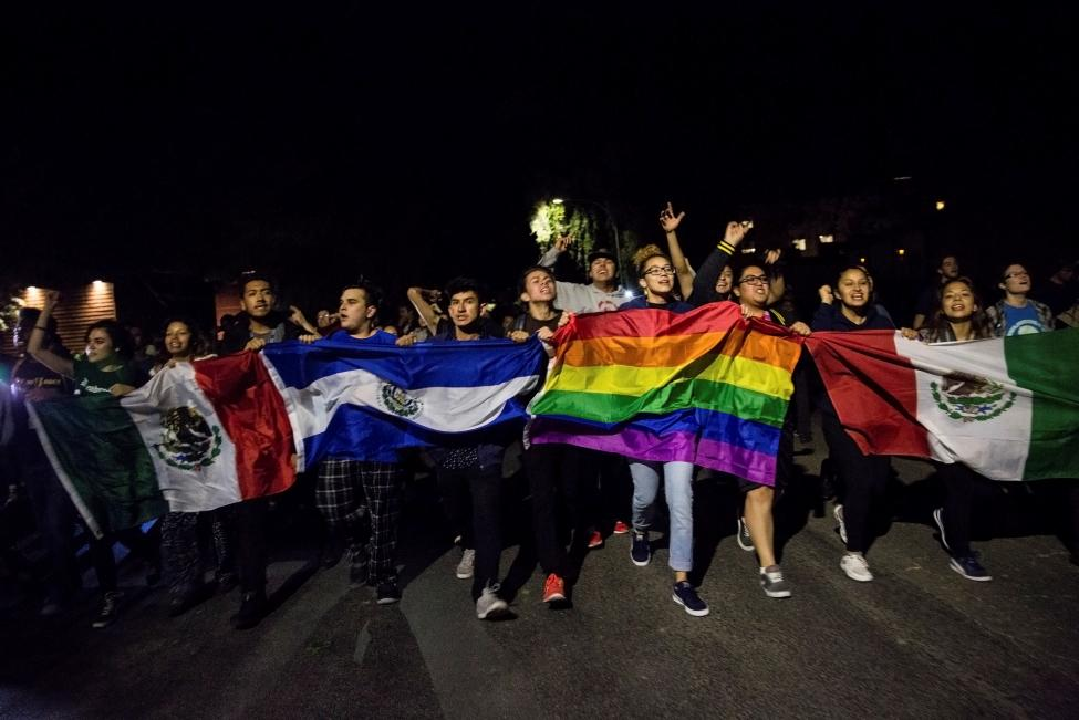 Students protest on campus in Davis, California, U.S. following the election of Donald Trump as President of the United States