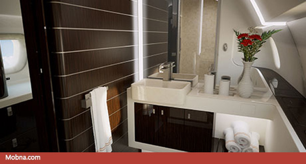 ۱۰- Lineage_1000_ultra_large_corporate_jet_VIP_lavatory_and_walk-in_shower